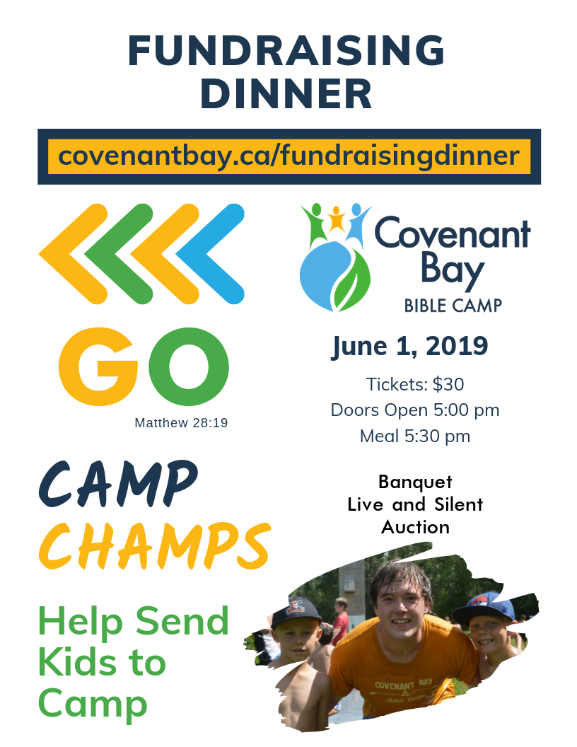 Fundraising Dinner | June 1, 2019, Tickets $30, Banquet, Live and Silent Auction. Help send kids to camp!